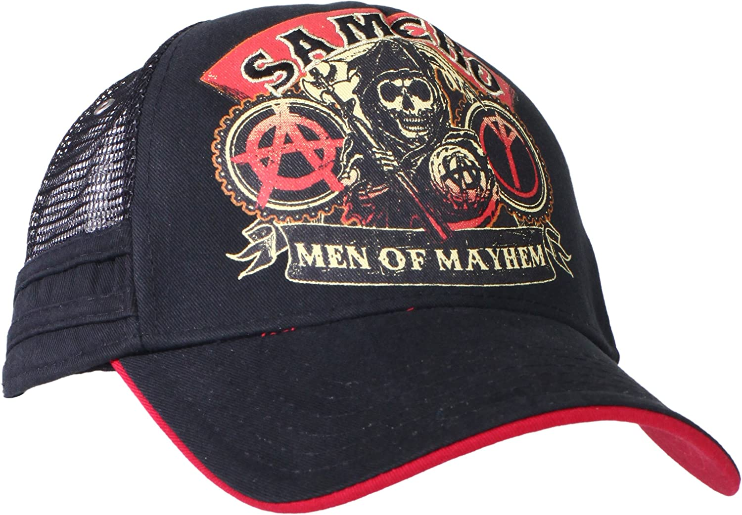 TV Series SOA Sons of Anarchy Applique Art Stretch Black Fitted Baseball Cap Hat