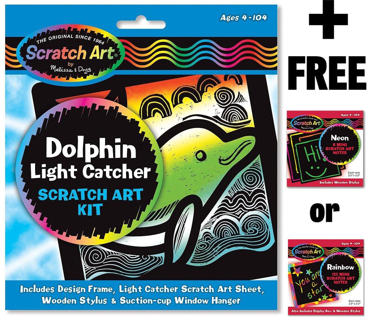 Dolphin Scratch Art Light Catcher Kit FREE Melissa /& Doug Scratch Art Mini-Pad Bundle