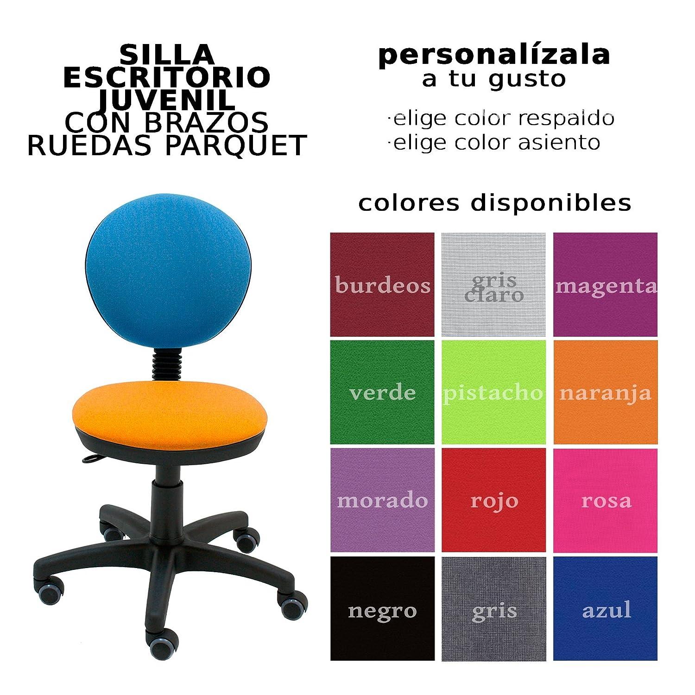 Centrosilla Silla giratoria Infantil Juvenil Jolly para niño Colores Personalizables Ideal para Escritorio Ruedas para parquet Incluidas