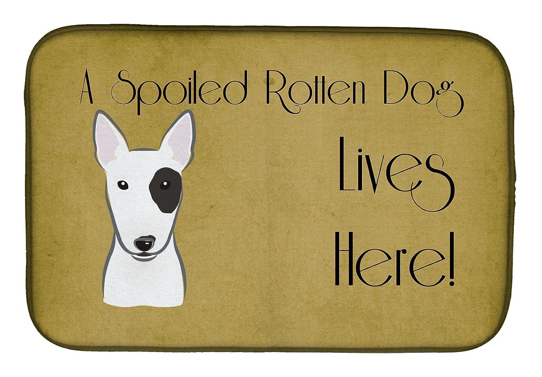 Caroline 's Treasures bb1457ddm Bull Terrier Spoiled犬Lives Hereディッシュ乾燥マット、14 x 21、マルチカラー   B07BQDR7VN