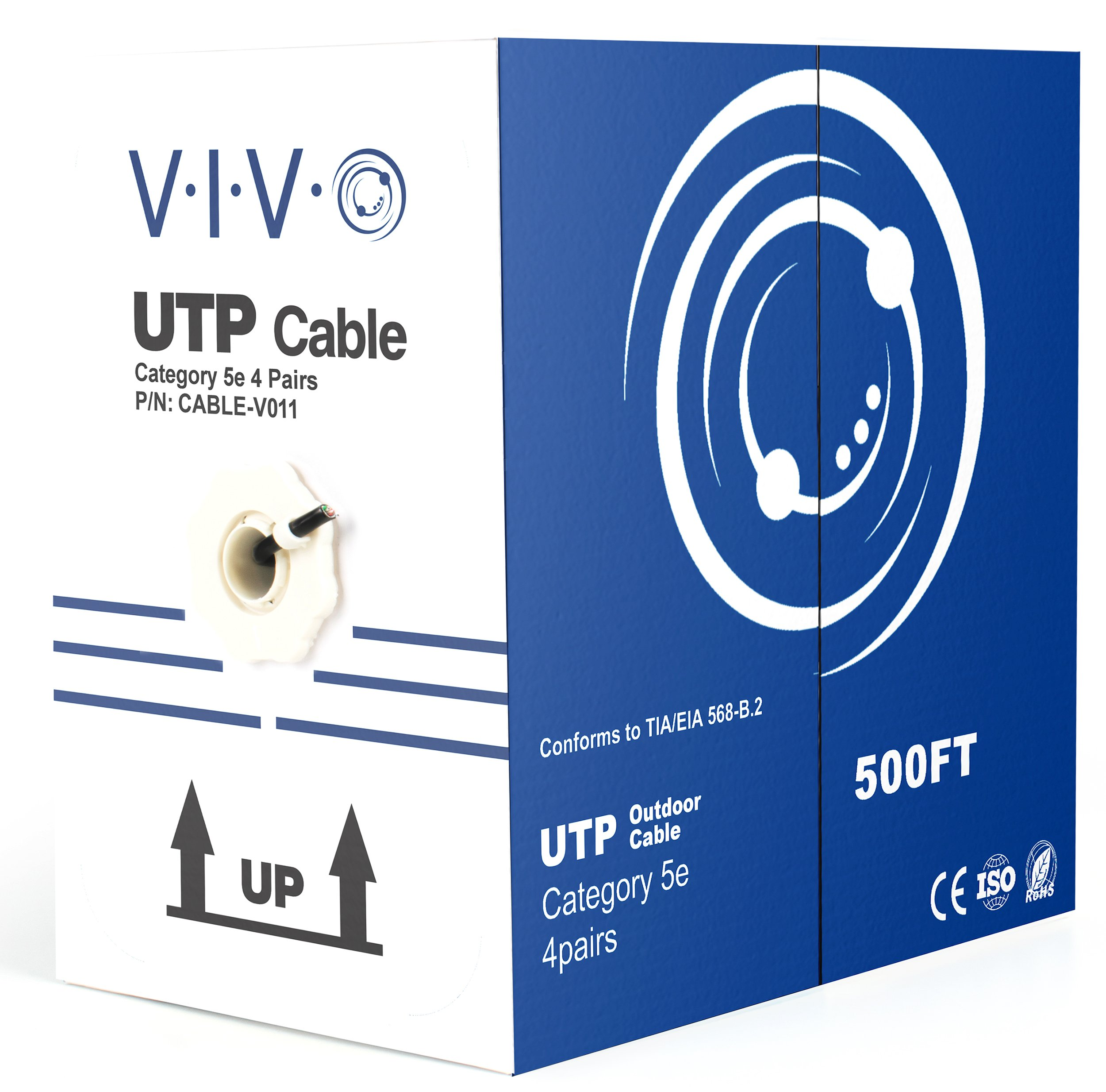 VIVO Black 500ft Bulk Cat5e, CCA Ethernet Cable, UTP Pull Box | Cat-5e Wire, Waterproof, Outdoor, Direct Burial (CABLE-V011) by VIVO