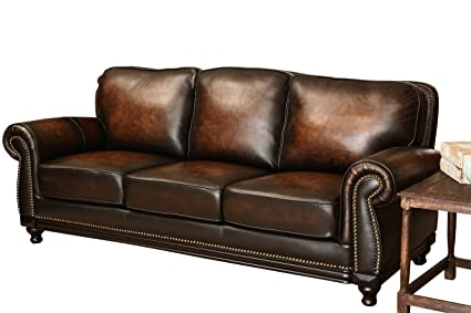 Abbyson® Barclay Hand Rubbed Leather Sofa