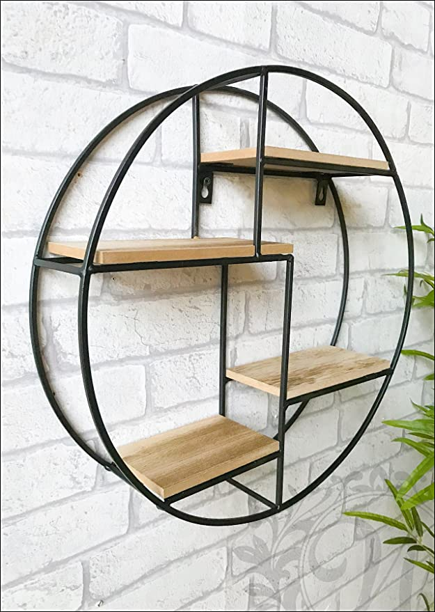 lowest price cc009 55b3b Black Metal Circle Wall Unit with Shelves