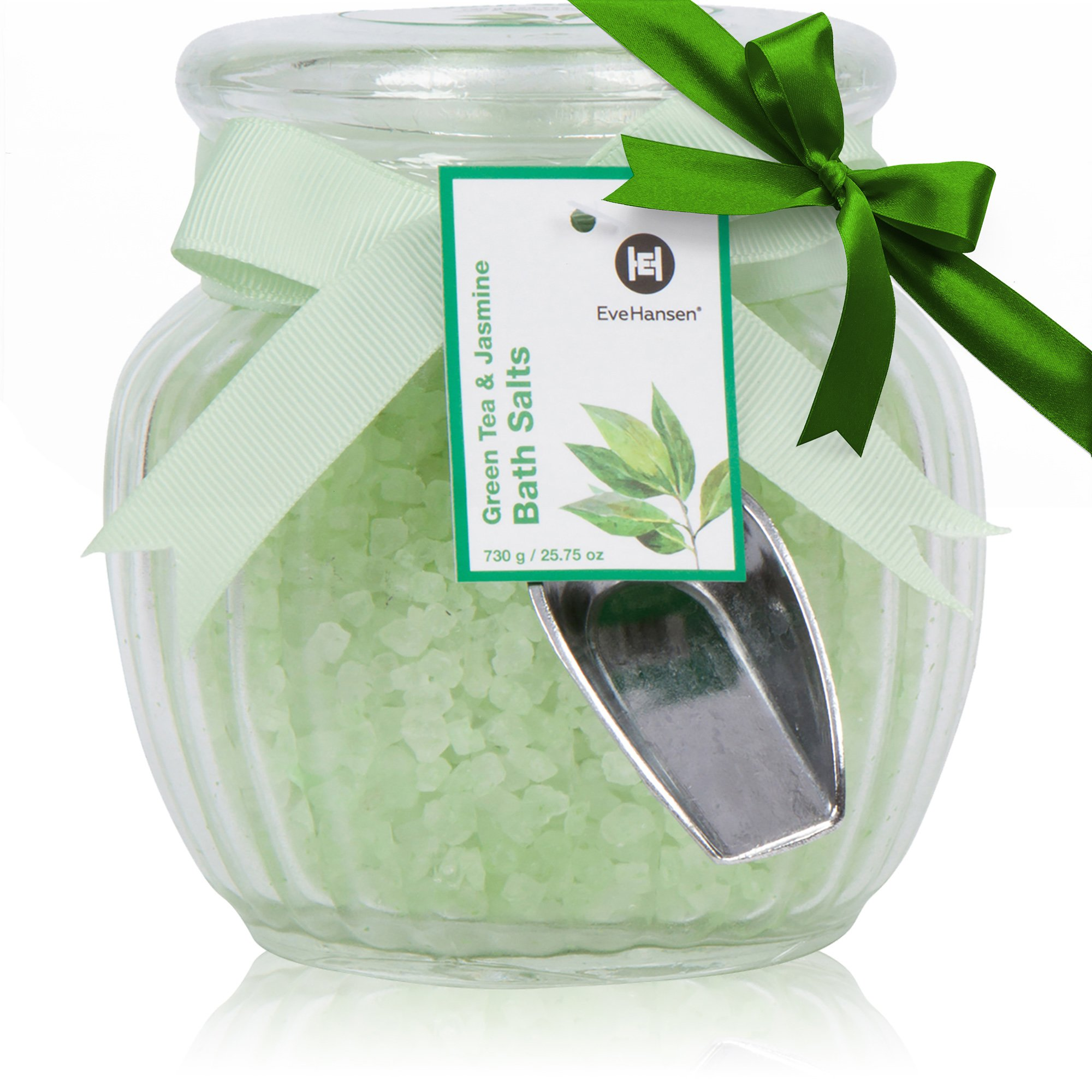 Natural Bath Salts by Eve Hansen in Green Tea and Jasmine Scent. Large 25 Ounce Glass Jar. Skin Nourishing And Relaxing Bath Salt. Great for Gift. Aromatherapy Essential Oils Soothing Bath Treatment.