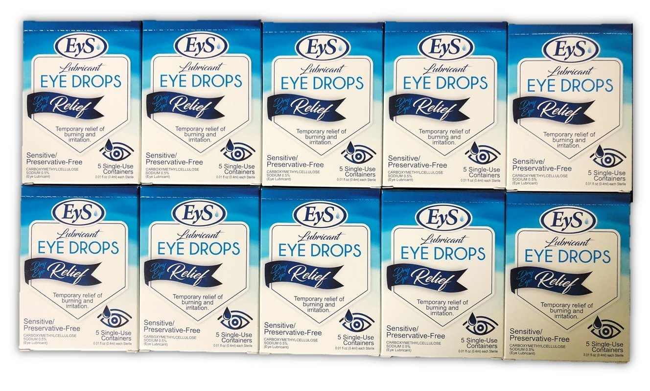 EyS Lubricant Eye Drops Dry Eye Relief - 5 Single-Use Containers/Box (10)