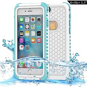 d361d0167f9 Dailylux Funda Impermeable iPhone 6s Plus Funda para iPhone 6 Plus  Protectora IP68 Certificado con Touch ID Protector de Pantalla Incorporado  Resistente ...