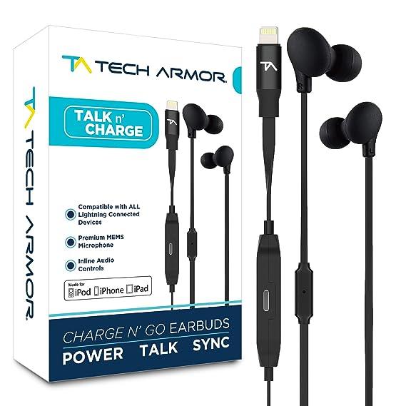 4f5cf3d7370 Amazon.com: Tech Armor [Apple MFi Certified] 8-pin Lightning Earbuds ...