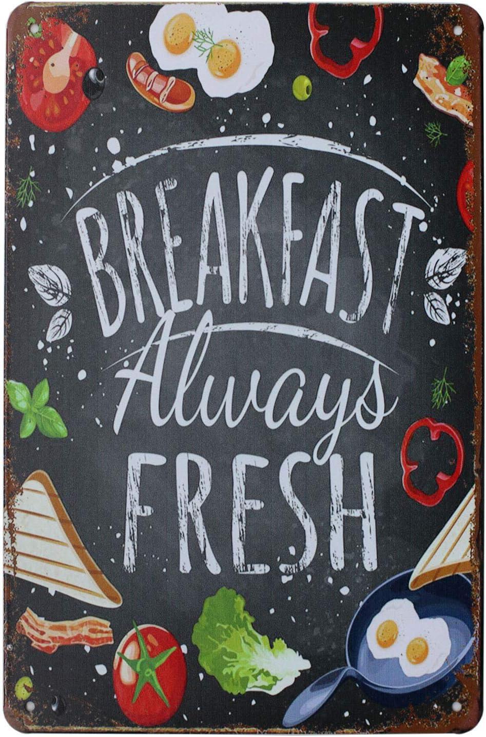 SUMIK Breakfast Always Fresh Organic Food, Metal Tin Sign, Vintage Art Poster Plaque Kitchen Home Wall Decor