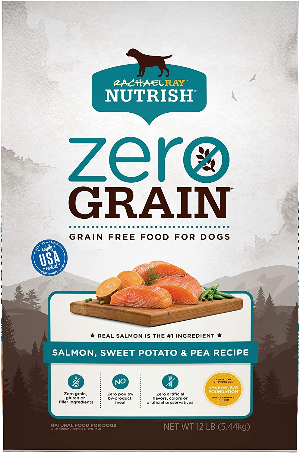 Rachael Ray Nutrish Zero Grain Natural Dry Dog Food, Salmon & Sweet Potato Recipe, 12 Pounds, Grain Free
