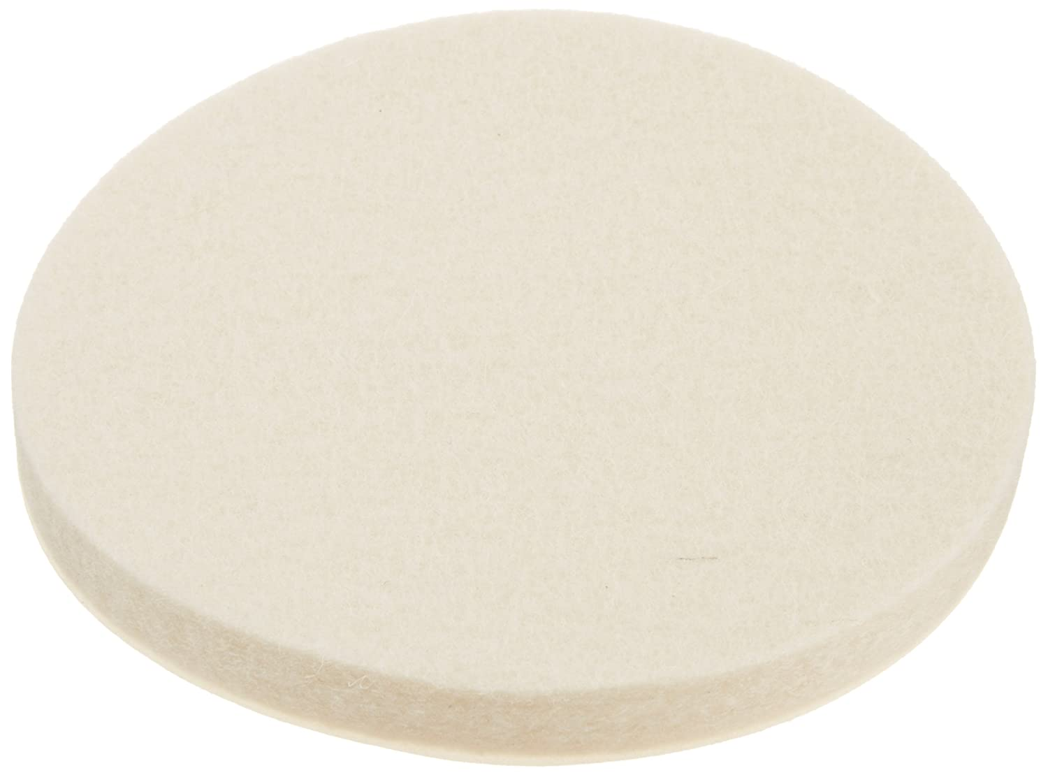Grade F1 Pressed Wool Felt Disc, White, Meets SAE J314, Adhesive Backed