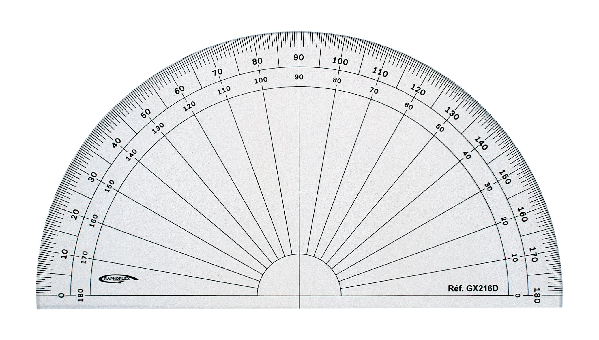 GX216D Grapholex-Protractor-Semi-Circle-Clear