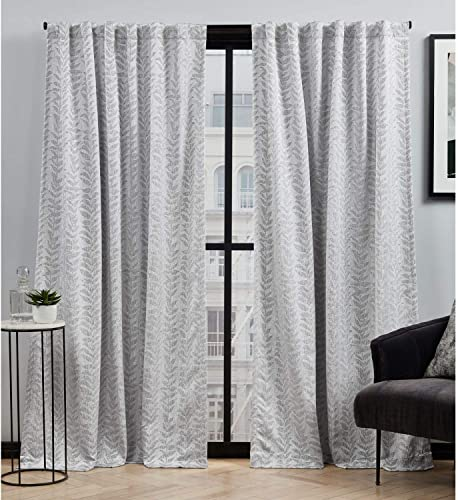 Elle Decor Ellis Botanical Light Filtering Back Tab Rod Pocket Curtain Panel Pair, 54×84, Grey