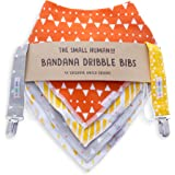 Premium Unisex Baby Bandana Dribble Bibs Set - 4 x Exclusive Neutral Drool Bib Design - Fitted with 3 Adjustable Snaps + 2 x FREE DUMMY CLIPS - Super Absorbent - Perfect for Girls, Boys, Fits Newborn Infant Toddler