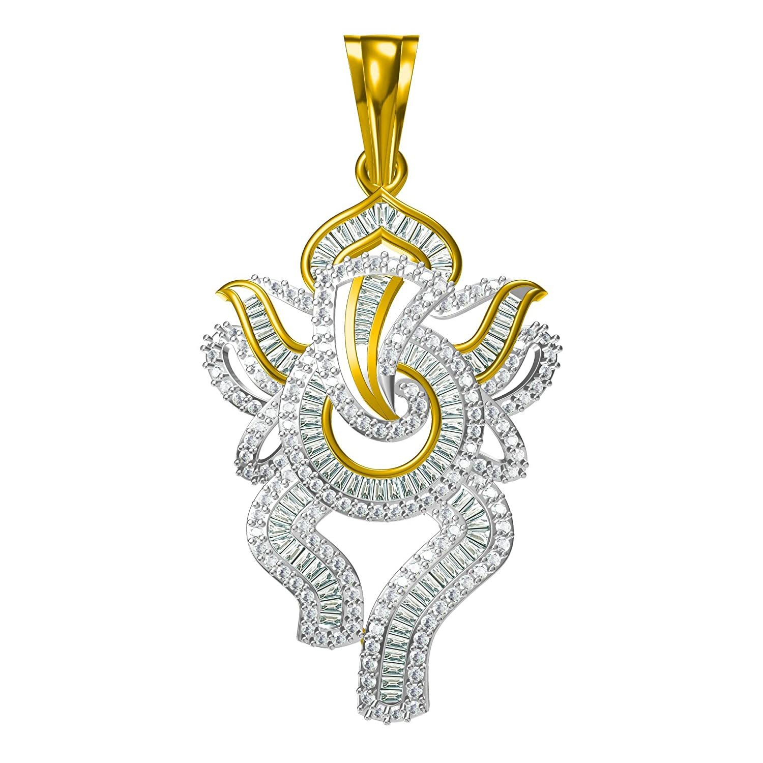 14K Yellow Gold Plated Simulated Diamond Studded Religious Pendant Necklace With Chain Jewelry
