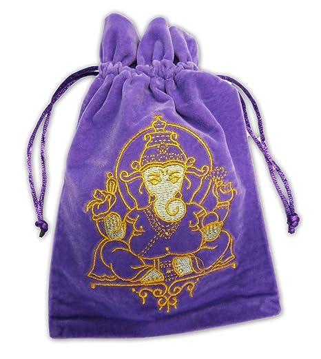 FindSomethingDifferent Ganesh Luxury Velvet Tarot Card Bag 180 x 130mm