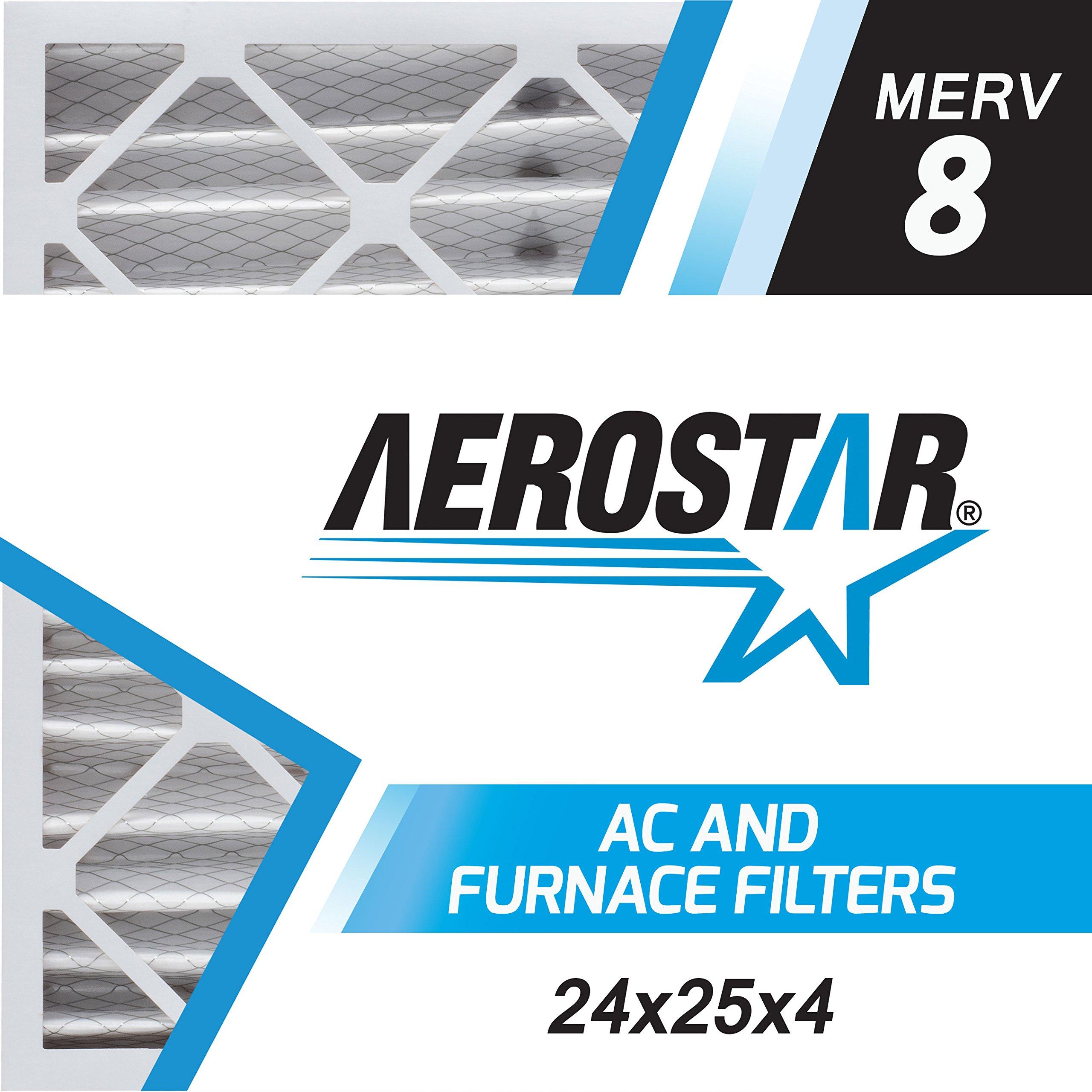 Aerostar 24x25x4 MERV 8, Pleated Air Filter, 24 x 25 x 4, Box of 6, Made in the USA
