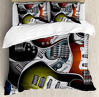 Twin XL Extra Long Bedding Set,Popstar Party Duvet Cover Set,Pile Graphic  Colorful
