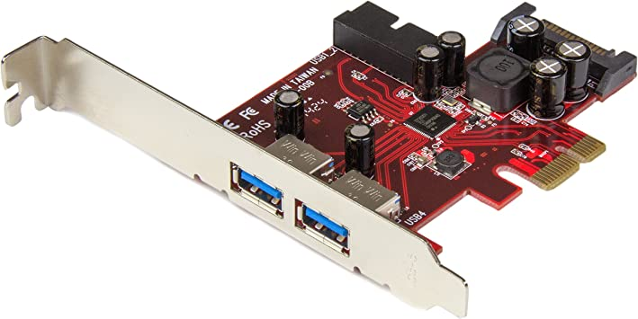 StarTech.com 4 Port PCI Express USB 3.0 Card - 2 External & 2 Internal - SATA Power - UASP Support - 2x Int Motherboard-Style Headers (PEXUSB3S2EI)