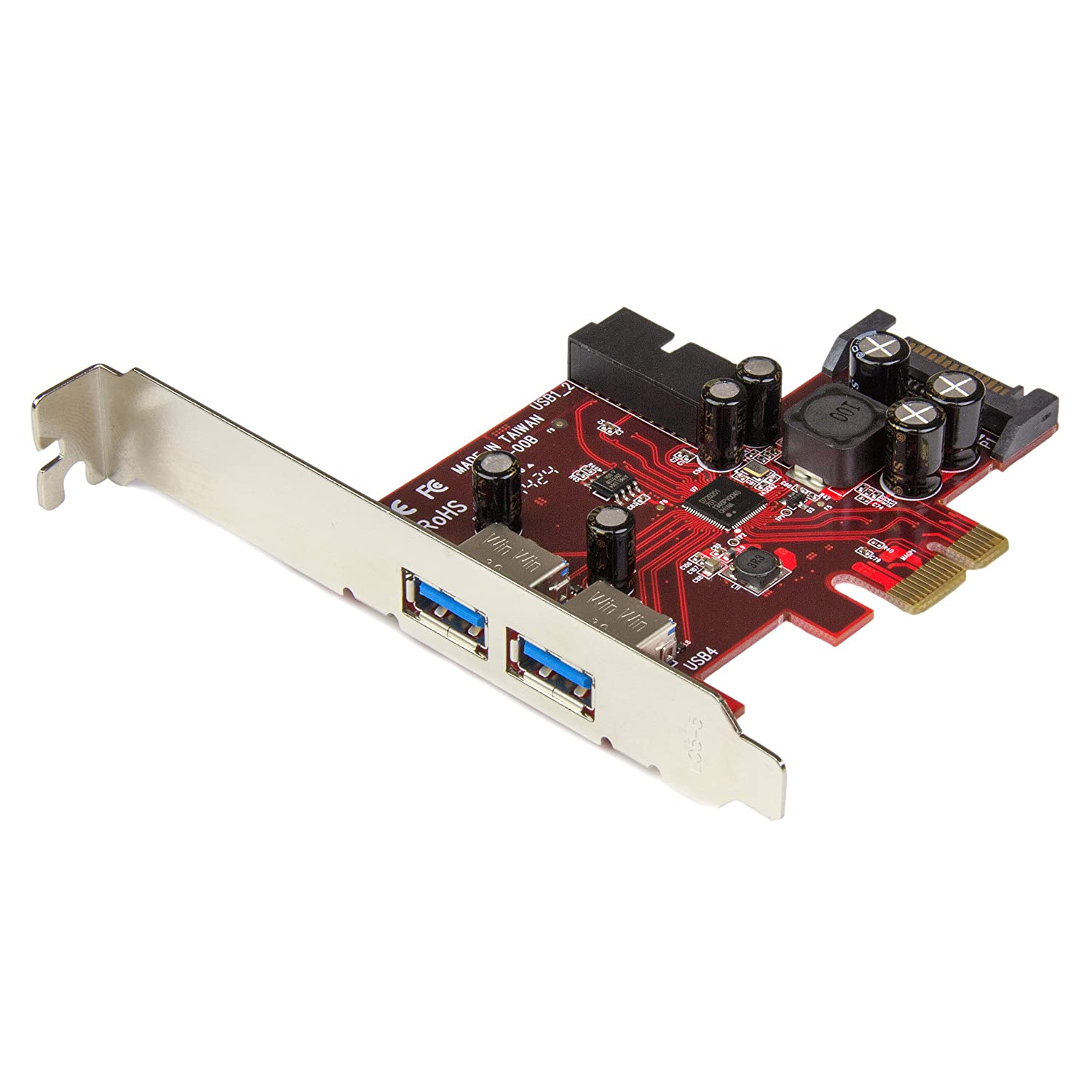 StarTech.com 4 Port PCI SuperSpeed USB 3.0 Adapter Card with SATA/SP4 Power-Quad Port PCI USB 3 Controller Card PCIUSB3S4, Red USB & Firewire Equipment