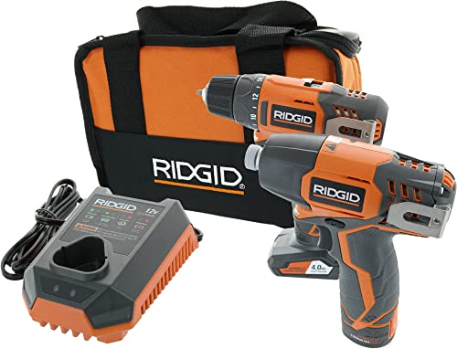 Ridgid R9000K 12V Hyper Lithium-Ion Drill Driver Combo Kit Includes 1 x R82005 Drill, 1 x R82230 Impact Driver, 1 x AC82049 2AH Battery, 1 x AC82059 4AH Battery, 1 x R86049 Charger