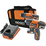 Ridgid R9000K 12V Hyper Lithium-Ion Drill/Driver Combo Kit (Includes: 1 x R82005 Drill, 1 x R82230 Impact Driver, 1 x AC82049 2AH Battery, 1 x AC82059 4AH Battery, 1 x R86049 Charger)
