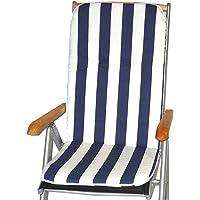 Gartenstuhl-Kissen Almohada Cojines para sillas de jardín Respaldo Alto Rayas Blancas Azules