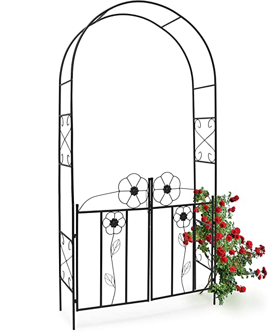 Relaxdays Arco de Metal para Rosas con Puerta 10010031-Arco, Negro, 36.5x116x228 cm: Amazon.es: Jardín