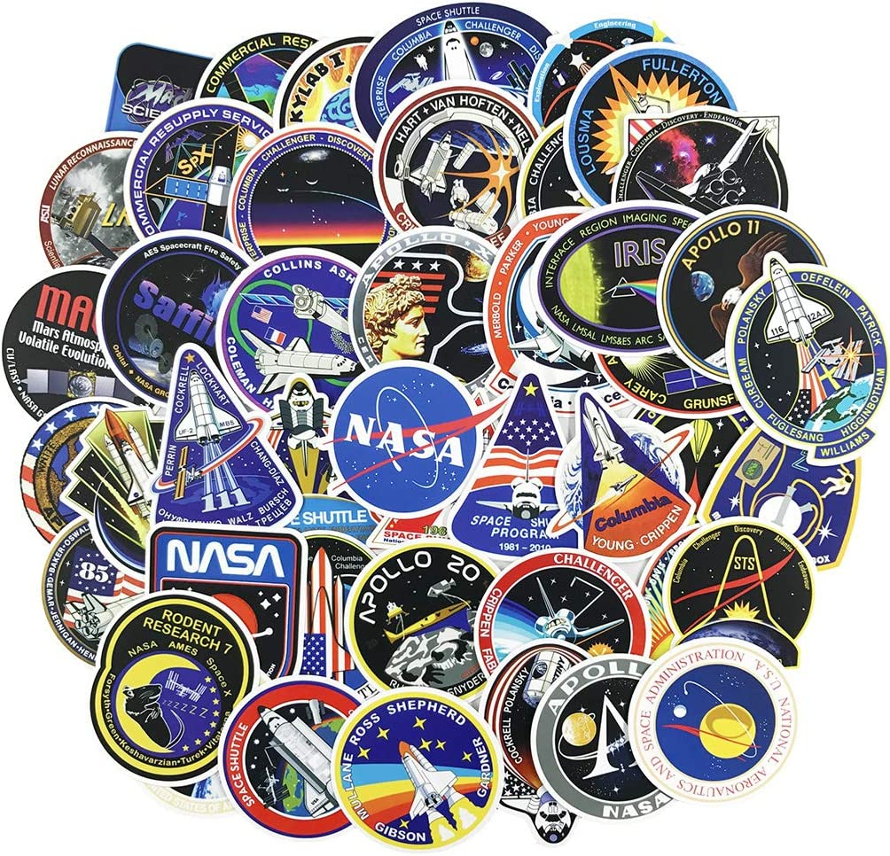 NASA Space Stickers 4 Sheets with Astronaut Alien Comets Stickers Deacals For Craft Scrapbooking Kids Party Favors Meteorites Rocket Satellite Flying Saucer 120 Stickers Space Shuttle Planet