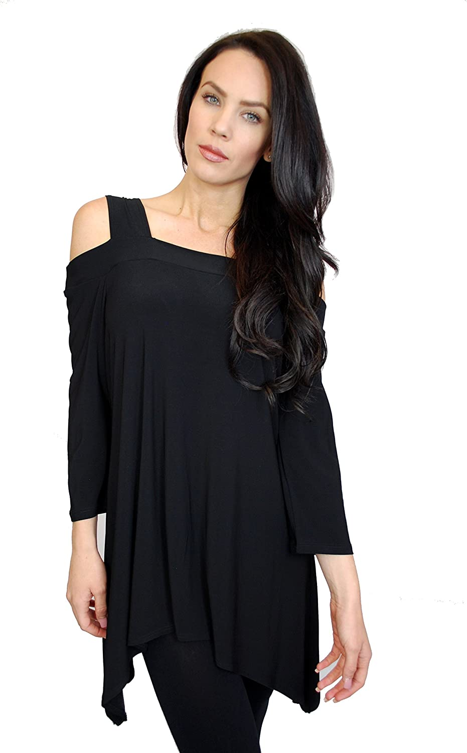 942831d9ec799 Womens Asymmetrical Cold Shoulder Cut Outs Tunic Fashion Top at Amazon  Women s Clothing store