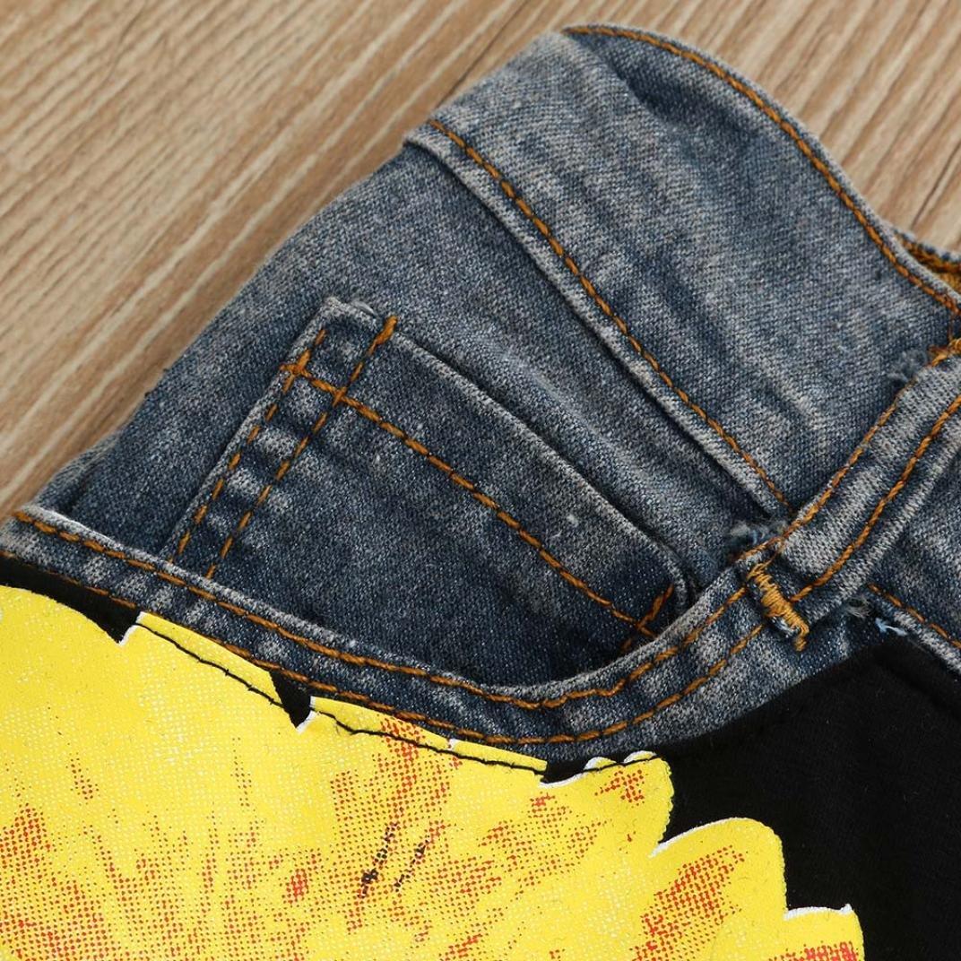 BYSTE/_Bambino Lettera Stampa Senza Maniche Estate Gilet Camicie Pullover Felpa Neonato Top Bambini Pantaloncini di Jeans Girasole 2pcs