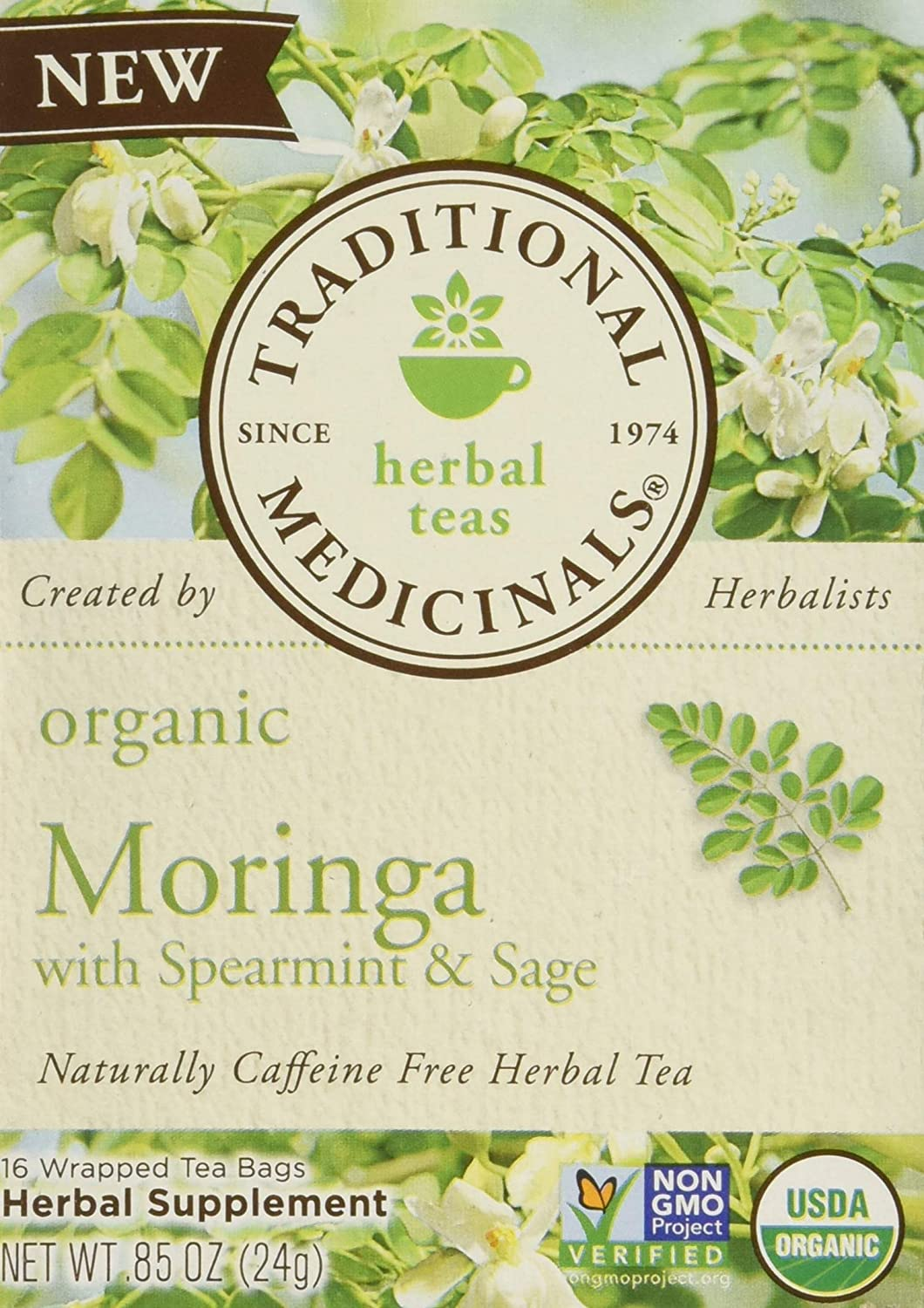 Traditional Medicinals Tea Moringa with Supermint Sage, 16 ct