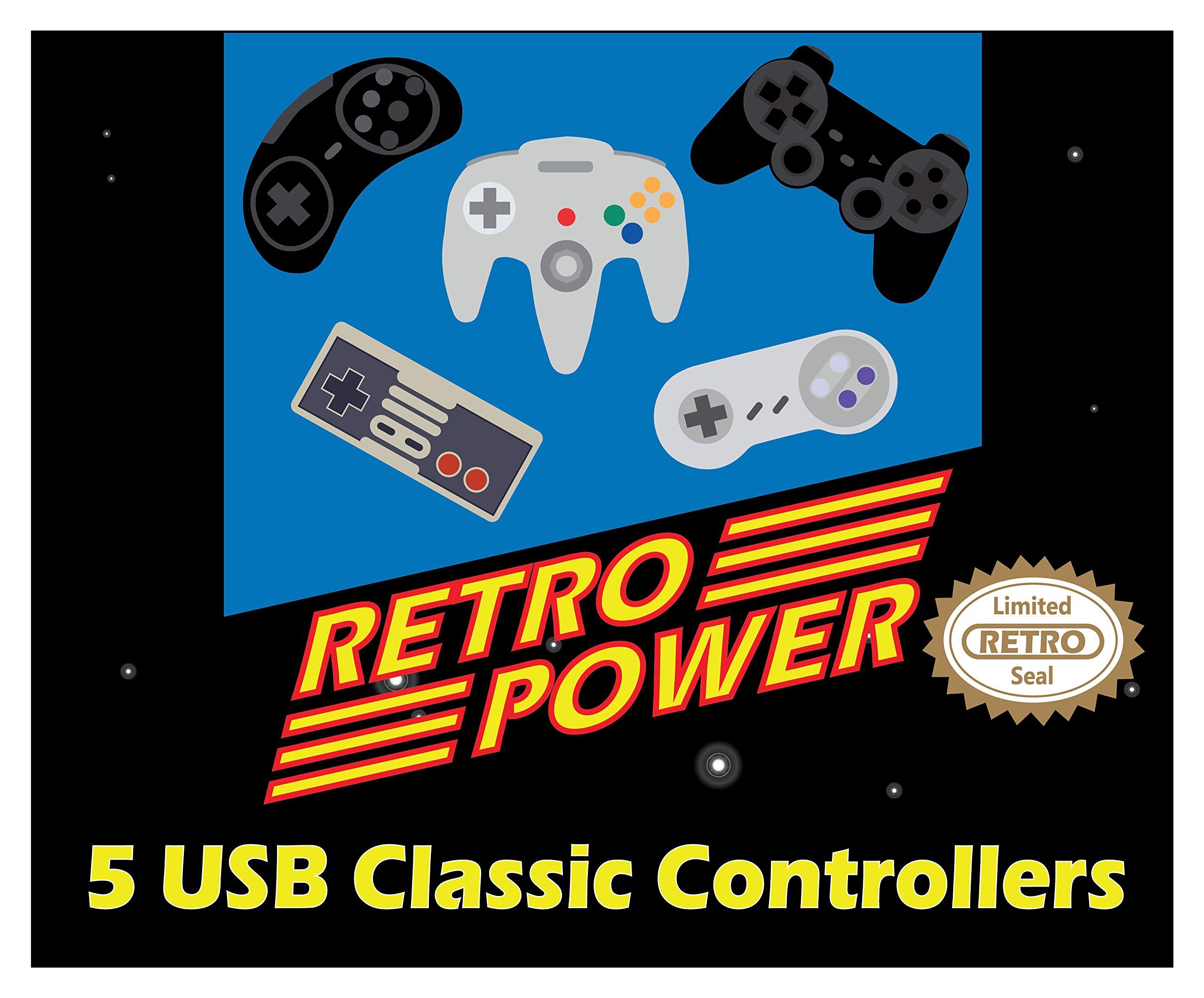 New 2019: 5 USB Classic Controllers - NES, SNES, Sega Genesis, N64,  Playstation 2 (PS2) for RetroPie, PC, HyperSpin, MAME, Emulator, Raspberry  Pi