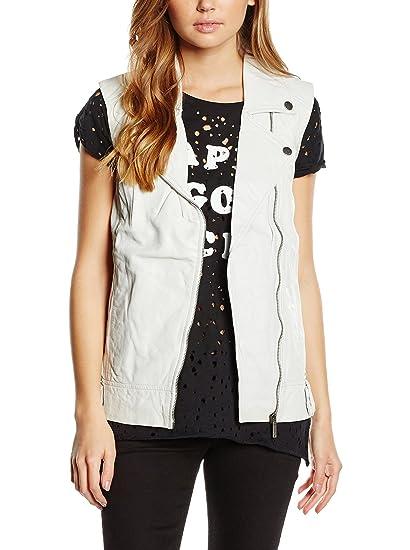 Pepe Jeans London Chaleco Piel Galanta Blanco S: Amazon.es: Ropa y accesorios