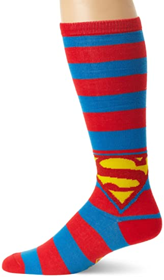 0cc13193158 Amazon.com  DC Comics Men s Superman Shield Logo Striped Knee High ...