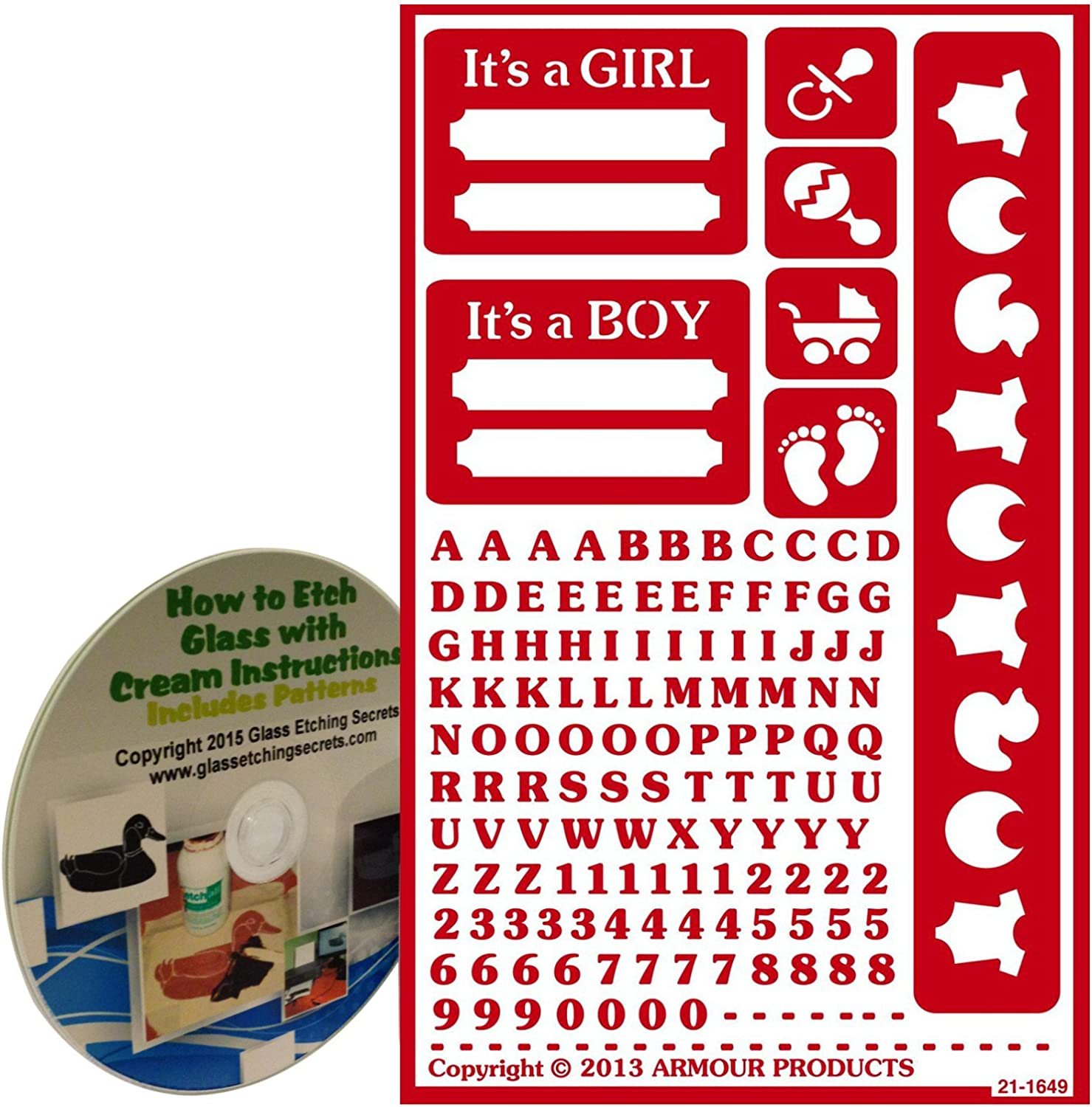 Armour Products Over N Over Glass Etchg Stencil 5 X 8 It/'s a Boy It/'s a Girl