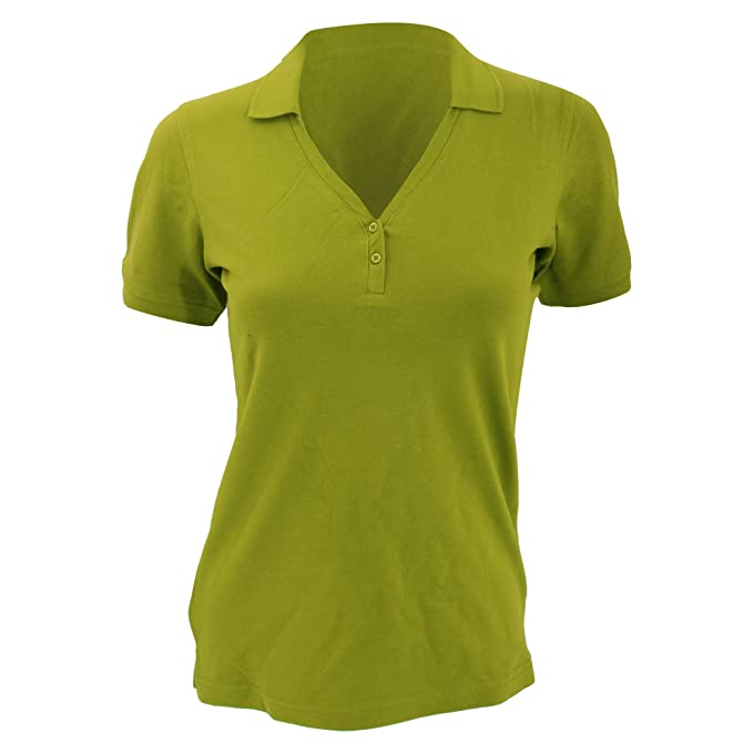 Kustom Kit Sophia Comfortec® Damen Kurzarm-Poloshirt mit V-Ausschnitt:  Amazon.de: Bekleidung