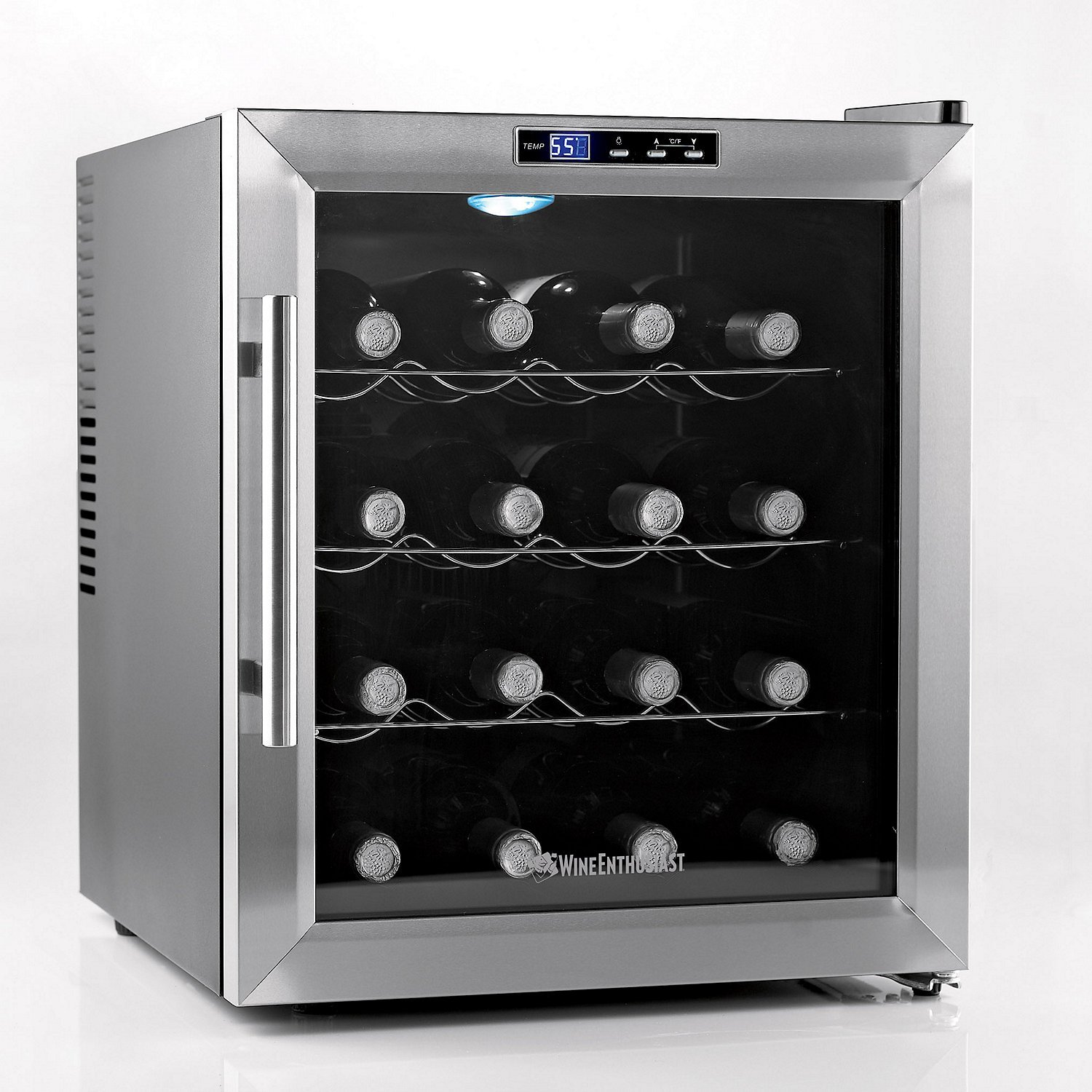 Wine Enthusiast 272 02 17 Silent 16 Bottle Touchscreen Wine Cooler, Stainless Steel