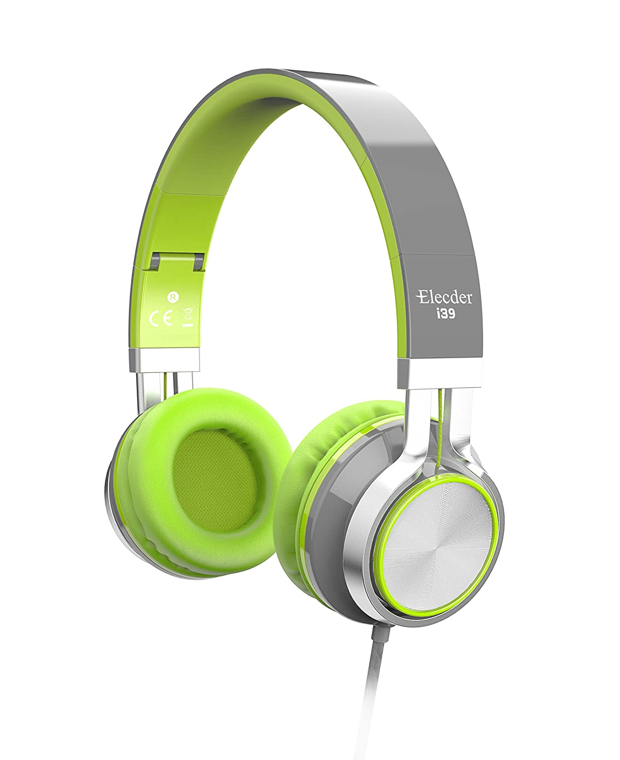 Elecder i39 Headphones with Microphone Kids Children Girls Boys Teens Adults Foldable Adjustable Wired On Ear Headsets Compatible iPad Cellphones Computer MP3/4 Green/Gray