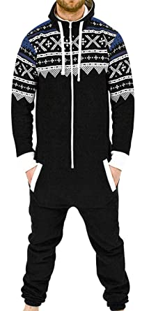 a82fa5d6f0 SKYLINEWEARS Men s Onesie Jumpsuit one Piece Non Footed Pajamas Aztek Black  S