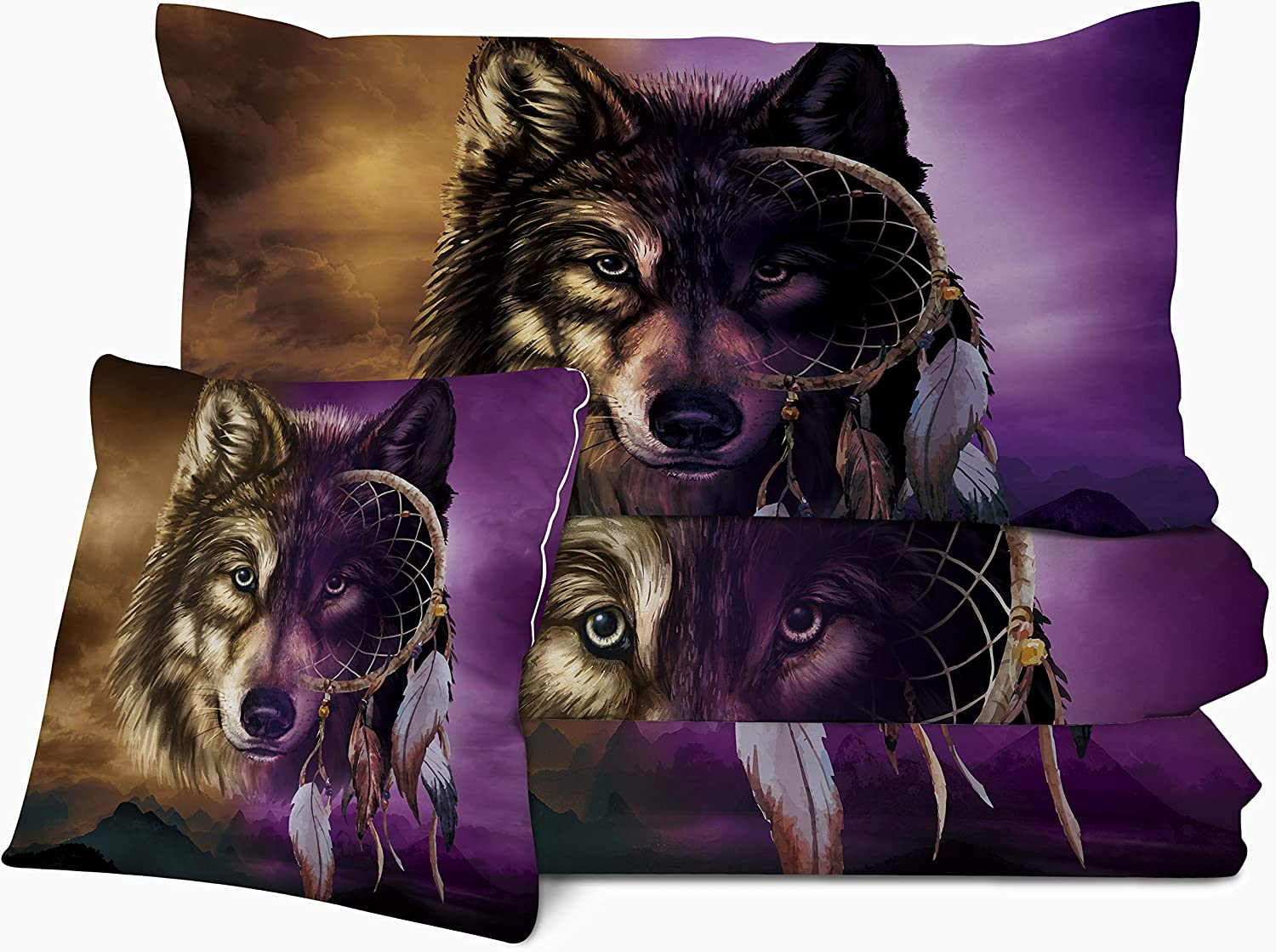 Sleepwish Wolf Dream Catcher Print Comforter Set 3D Gold Purple Wolf King Size Comforter 4 Pieces Bedding Sets with with 2 Pillow Shams and 1 Cushion Cover Lightweight Super Soft and Fluffy