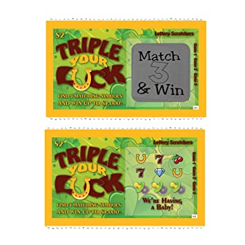 Pregnancy Announcement Lotto Replica Scratch Off Ticket Triple Your Luck  Pregnancy Reveal Fake Lottery Ticket New Baby Annoucement Card (5 cards)