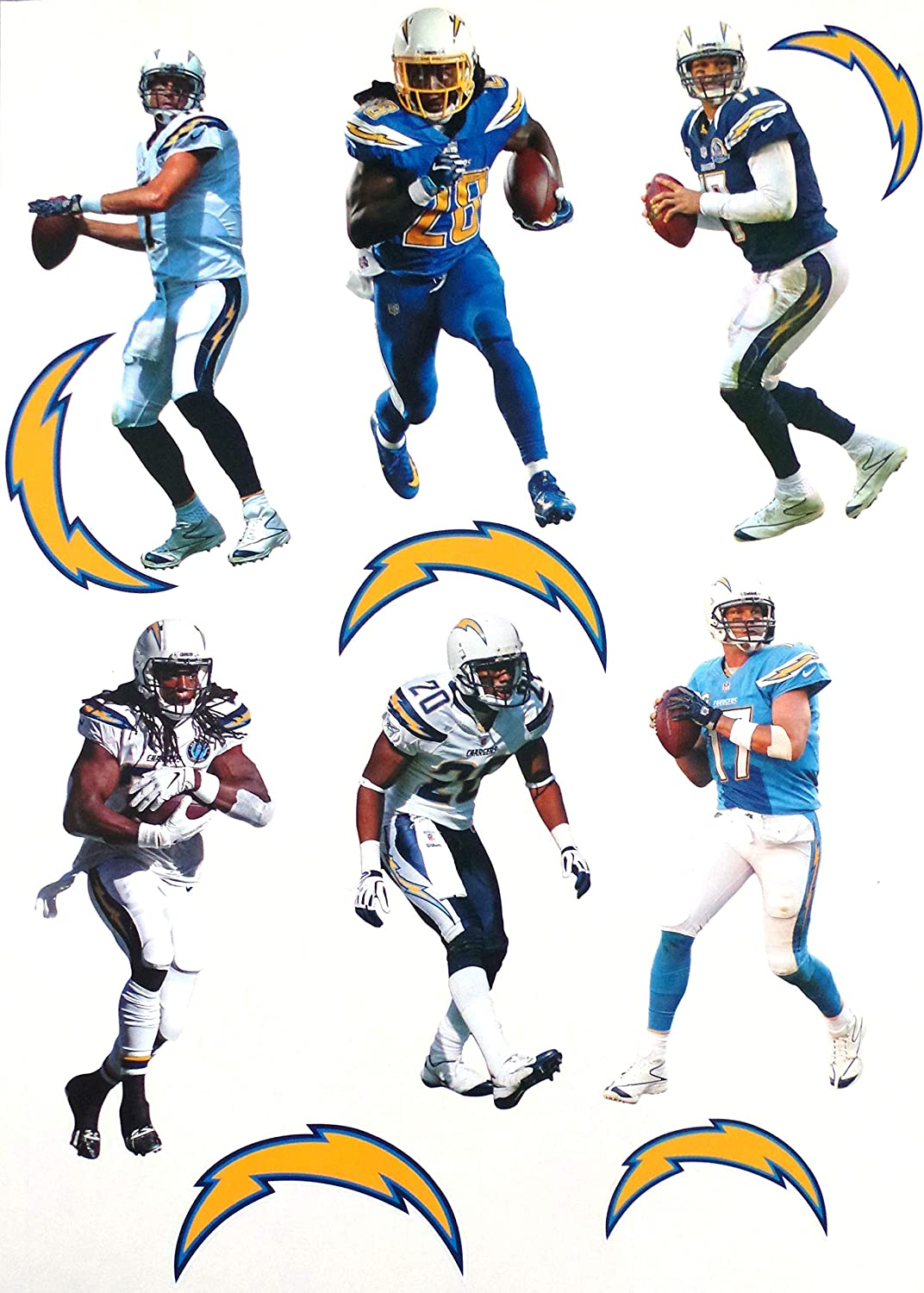 Los Angeles Chargers Mini FATHEAD Team Set 5 Player Graphics + 3 Chargers Logo - Official NFL Vinyl Wall Graphics - Each Player 7