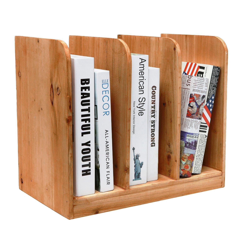 Amazon.com: MyGift Wood Tabletop Bookcase, 3 Slots Document U0026 Magazine  Organizer, Brown: Kitchen U0026 Dining