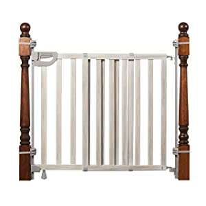 "Summer Infant Banister & Stair Safety Gate with Extra Wide Door, Wood, 33"" - 46"", Birch Stain with Gray Accents, 33-46"""