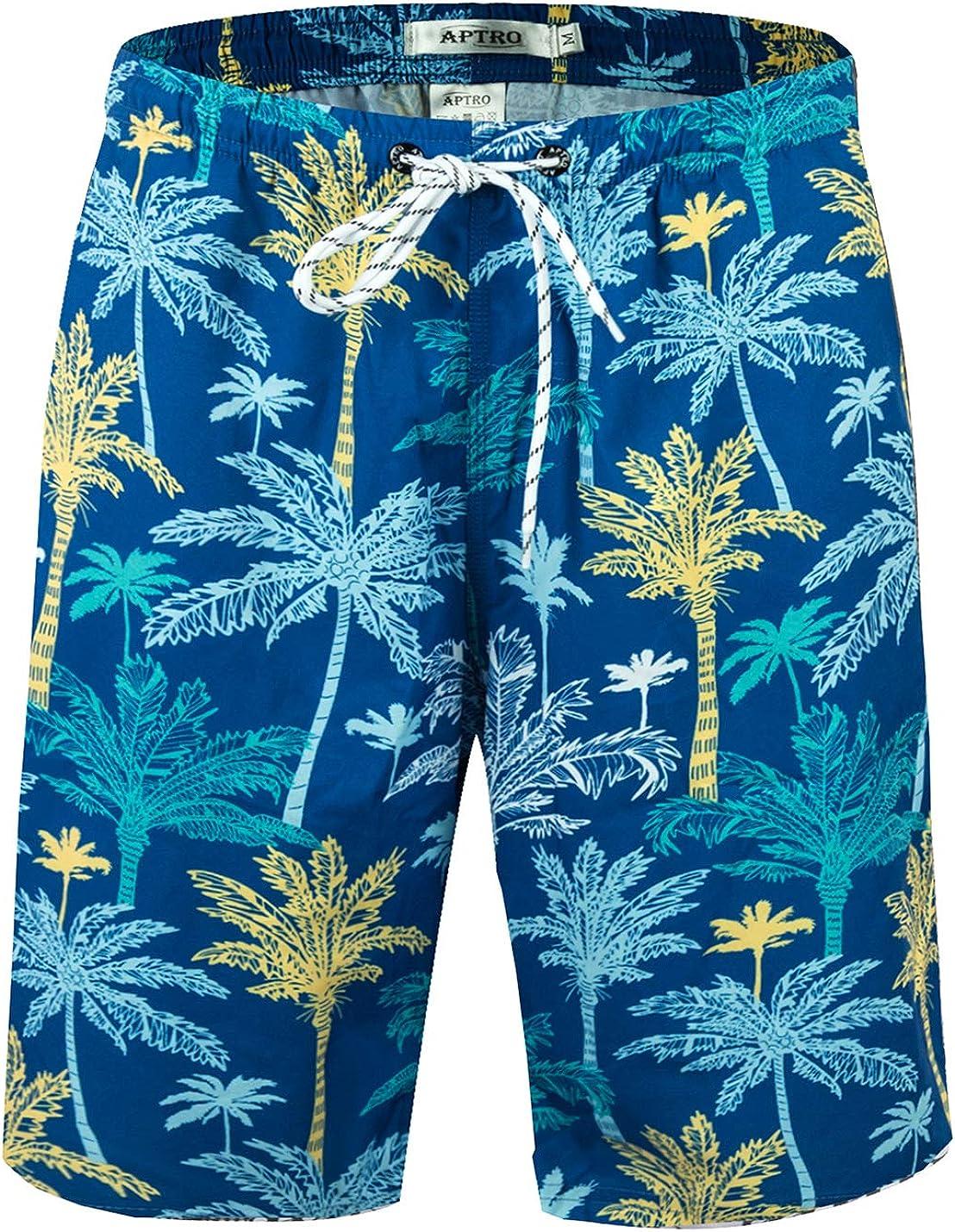 APTRO Mens Swim Trunks Quick Dry Bathing Suit Elastic Waistband Swim Shorts