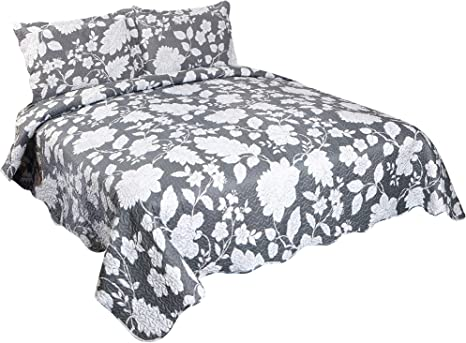 6 Piece Pinsonic Printed Bedding Bedspread Coverlet Quilt Sheet Set Rosa Flora, King