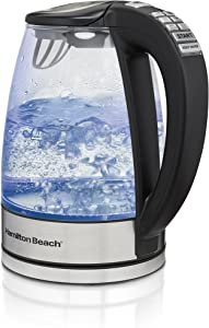 Hamilton Beach Temperature Control Glass Electric Tea Kettle, Water Boiler & Heater, 1.7L, Cordless, LED Indicator, Keep Warm, Auto-Shutoff & Boil-Dry Protection (40941)