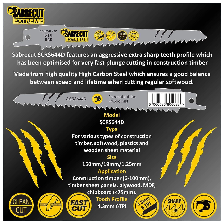 SabreCut SCRS644D/_3 Lot de 3 lames de scie sabre pour bois 150 mm 6 TPI S644D