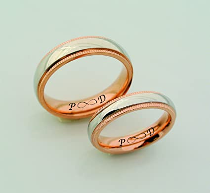 Amazon Com Personalized Silver Ring With Rose Gold Accent Couples