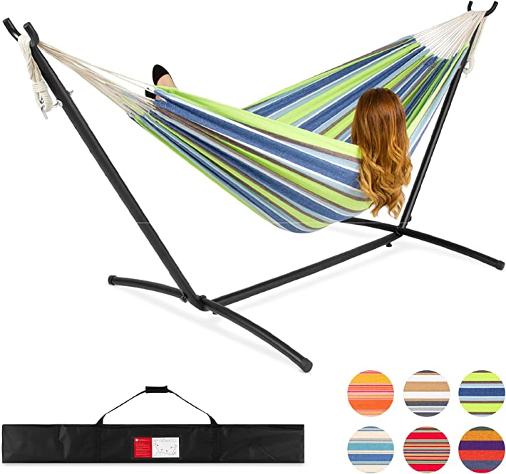 Best Choice Products 2-Person Brazilian-Style Cotton Double Hammock Bed w/Carrying Bag, Steel Stand, Blue/Green Stripes